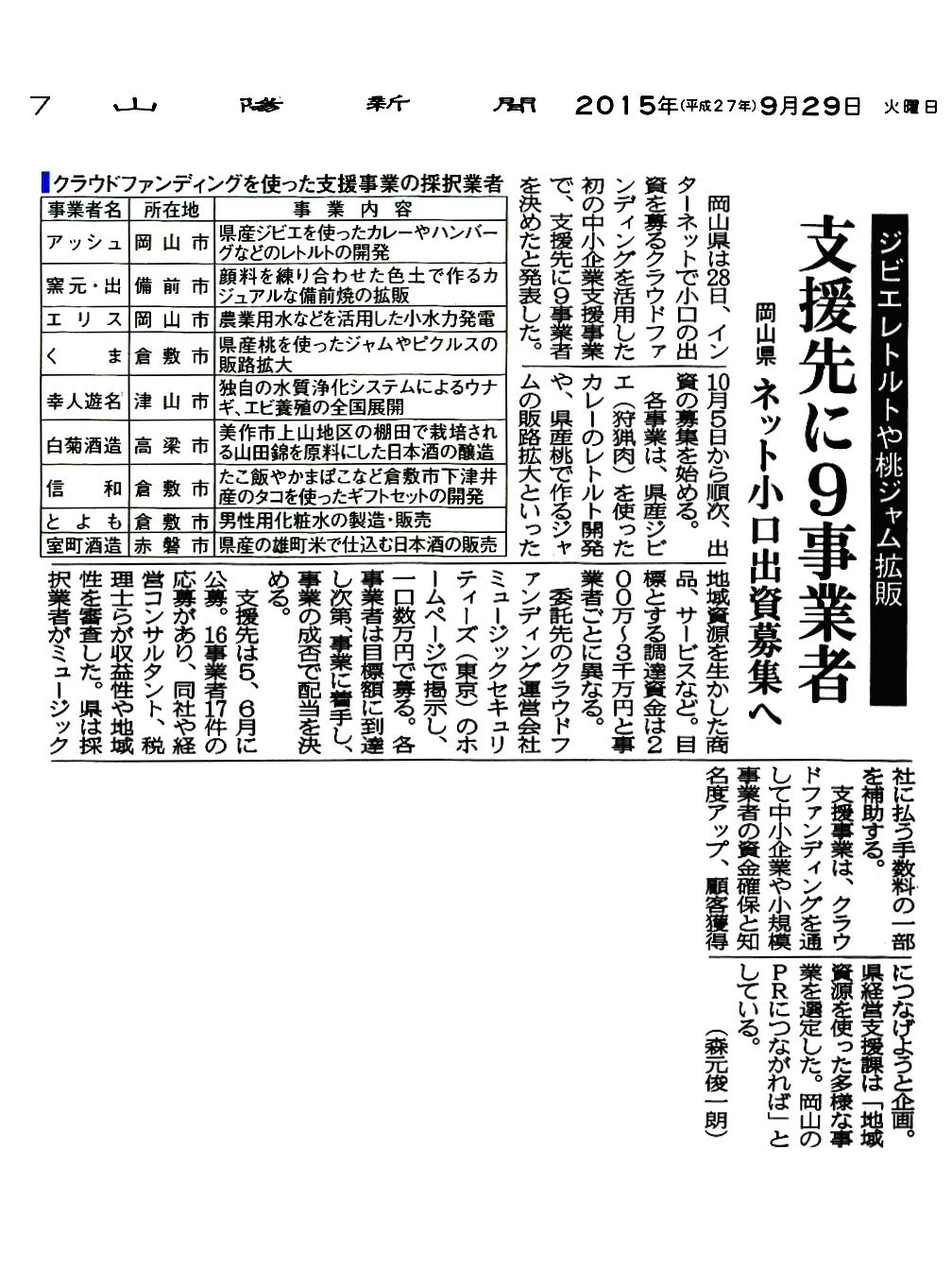山陽新聞 岡山県 ネット小口出資者募集へ